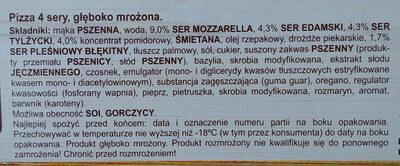 Pizza 4 sery, głęboko mrożona. - Składniki