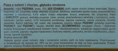 Pizza z salami i chorizo, głęboko mrożona - Ingrediënten - pl