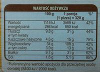 Pizza z salami i chorizo, głęboko mrożona - Voedingswaarden - pl