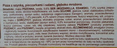 Pizza z szynką, pieczarkami i salami, głęboko mrożona. - Ingrediënten - pl