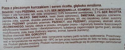 Pizza z pieczonym kurczakiem i serem ricotta, głęboko mrożona. - Składniki - pl