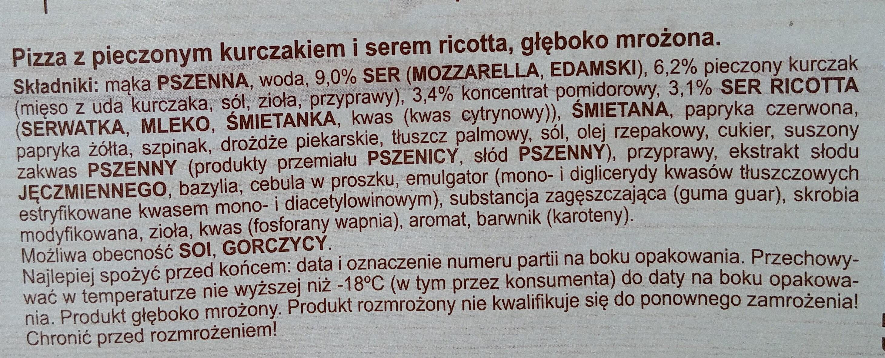 Pizza z pieczonym kurczakiem i serem ricotta, głęboko mrożona. - Ingrediënten - pl