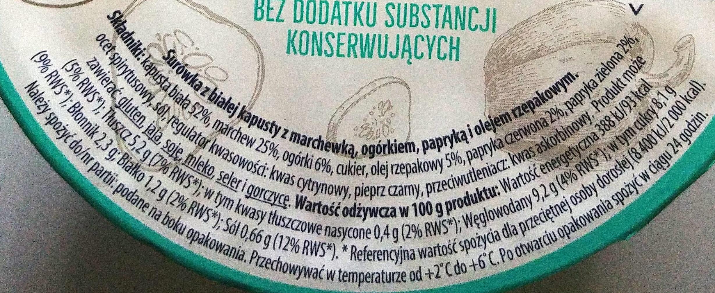 Surówka Parytasek - Nutrition facts