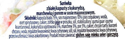 Surówka z białej kapusty z kukurydzą, marchewką i porem w sosie własnym - Składniki - pl