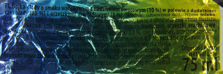 Lody o smaku waniliowym z nadzieniem owocowym (10%) w polewie z dodatkiem czekolady (20%) i orzeszków arachidowych (3%). - Składniki - pl