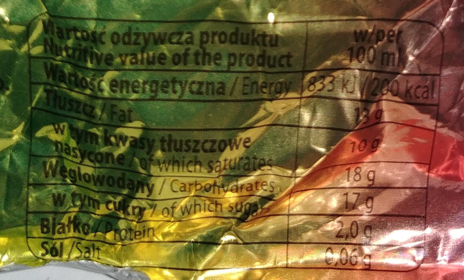 Lody o smaku waniliowym z nadzieniem owocowym (10%) w polewie z dodatkiem czekolady (20%) i orzeszków arachidowych (3%). - Wartości odżywcze - pl