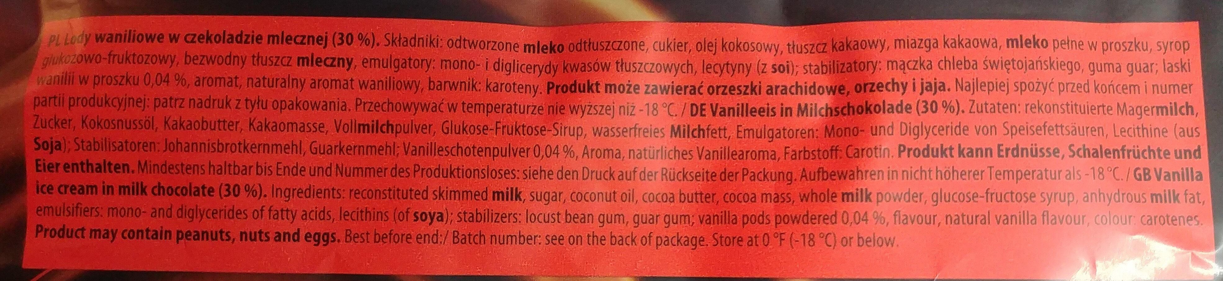 Lody waniliowe w czekoladzie mlecznej (30%) - Składniki - pl