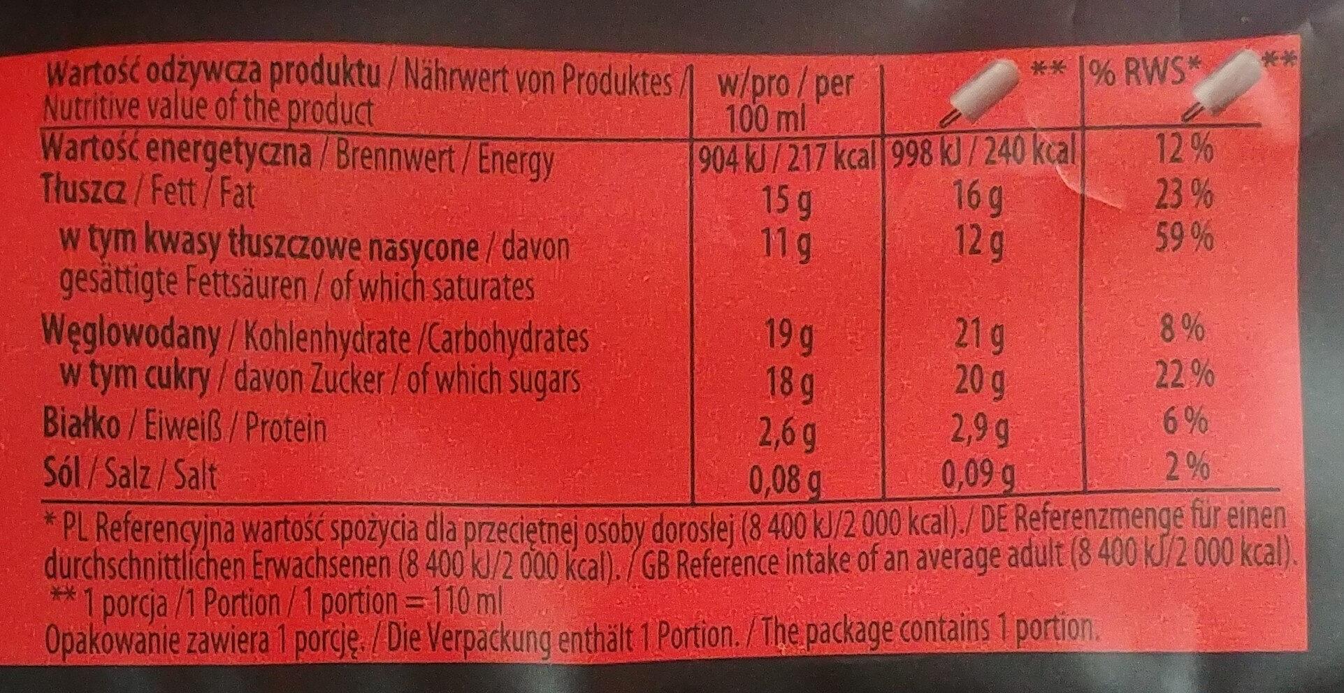Lody waniliowe w czekoladzie mlecznej (30%) - Wartości odżywcze - pl