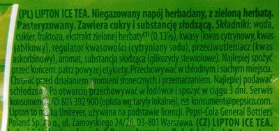 Niegazowany napój herbaciany z zieloną herbatą - Składniki
