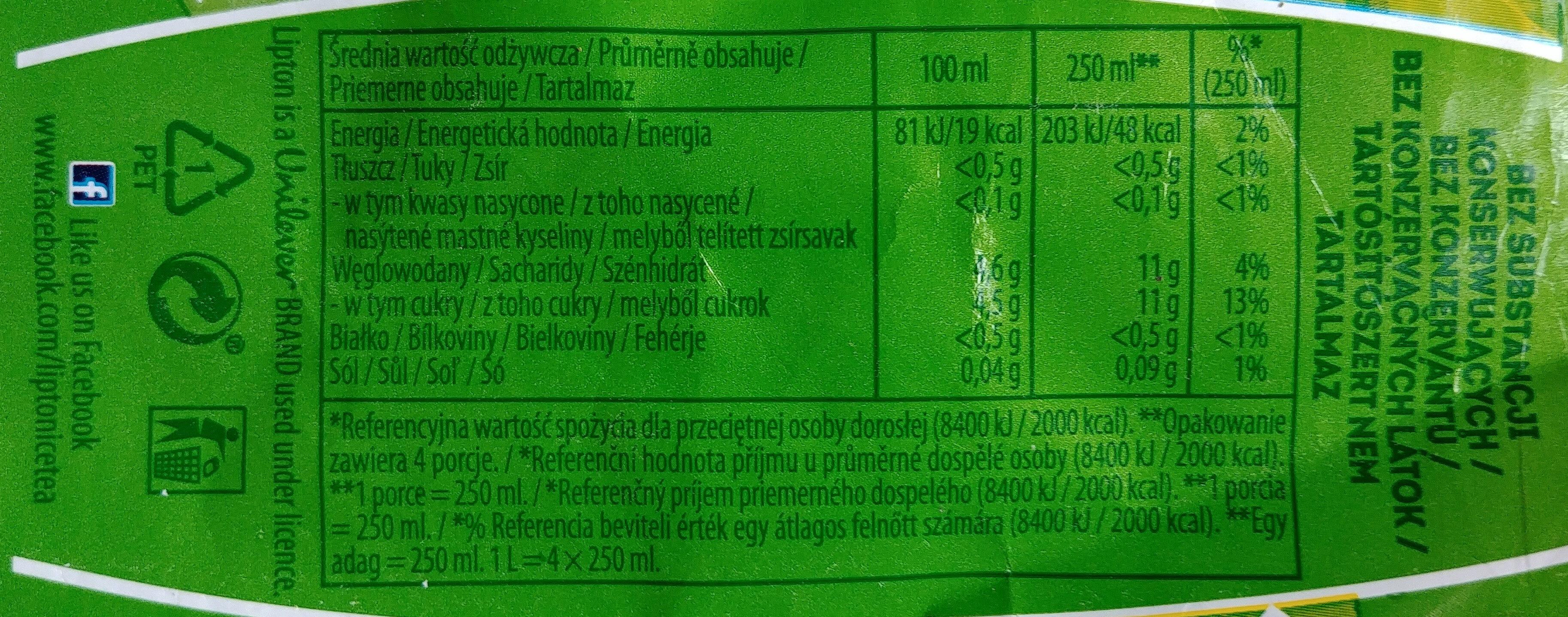 Niegazowany napój herbaciany z zieloną herbatą - Wartości odżywcze