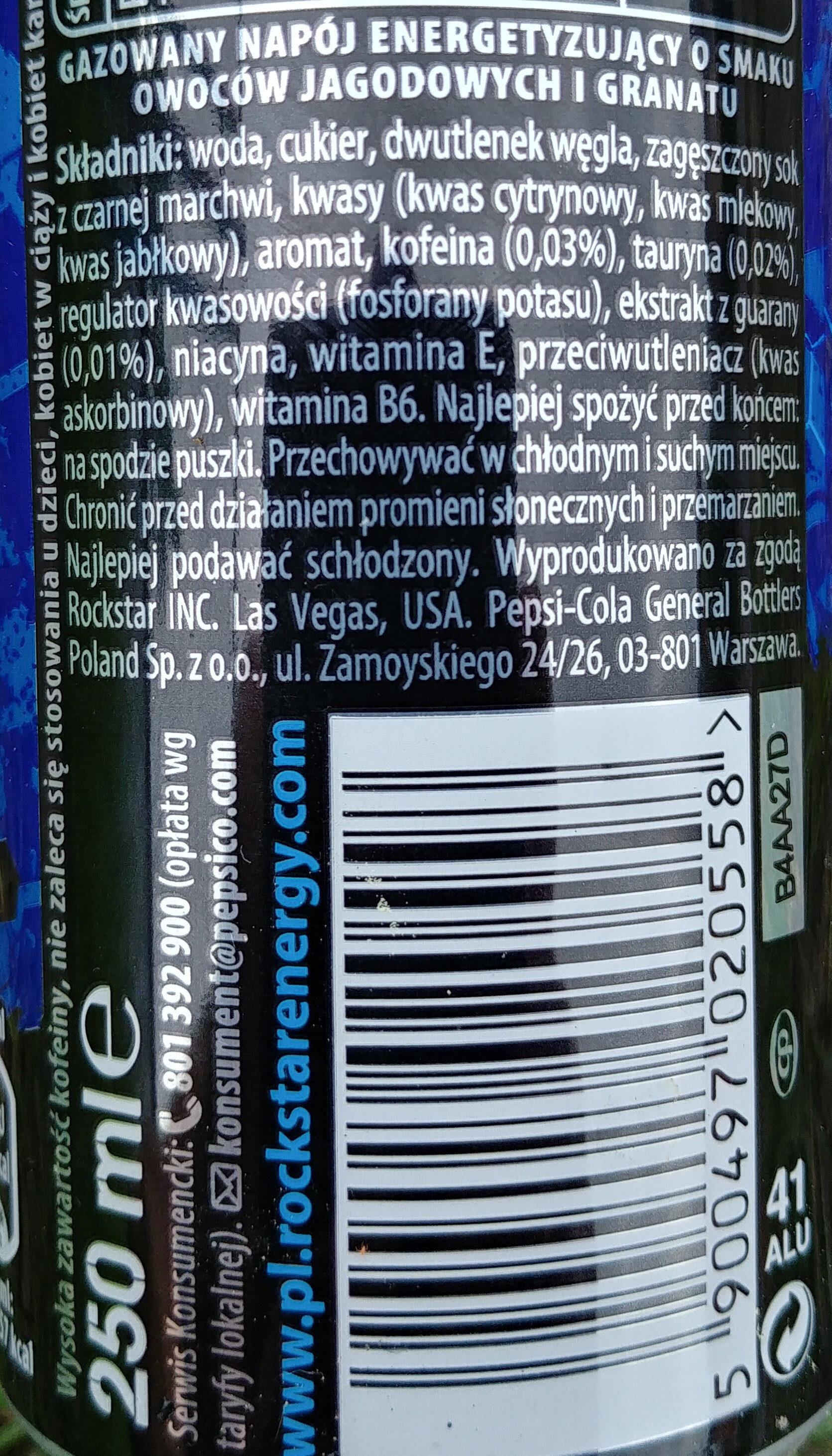 Gazowany napój energetyzujący o smaku owoców jagodowych i granatu - Składniki