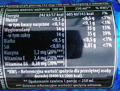 Gazowany napój energetyzujący o smaku owoców jagodowych i granatu - Wartości odżywcze - pl