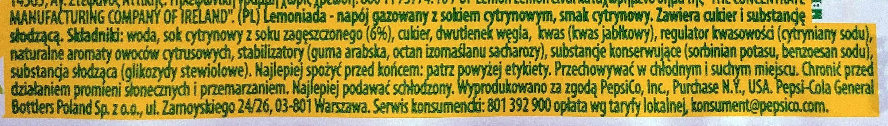 Băutură răcoritoare carbogazoasă cu suc de lămâie din concentrat, au zahăr şi induldtor. - Składniki