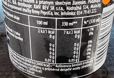 Pepsi mango zero lata 33cl - Voedingswaarden - es