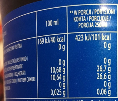 Pepsi - Wartości odżywcze - fr