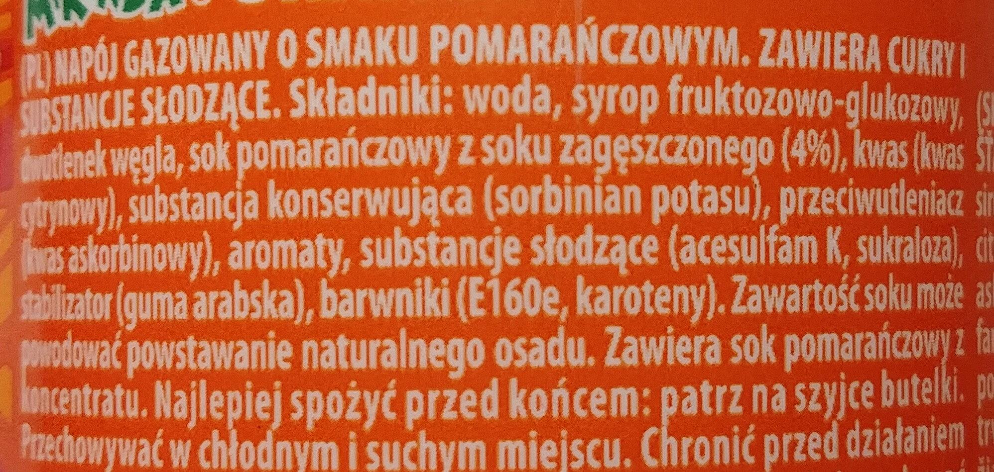 Napój gazowany o smaku pomarańczowym - Ingrediënten - pl