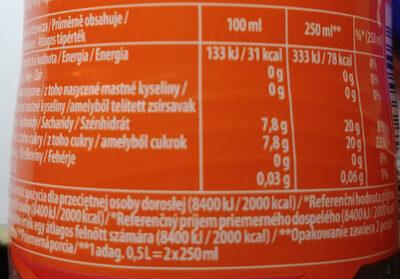 Napój gazowany o smaku pomarańczowym - Voedingswaarden - pl