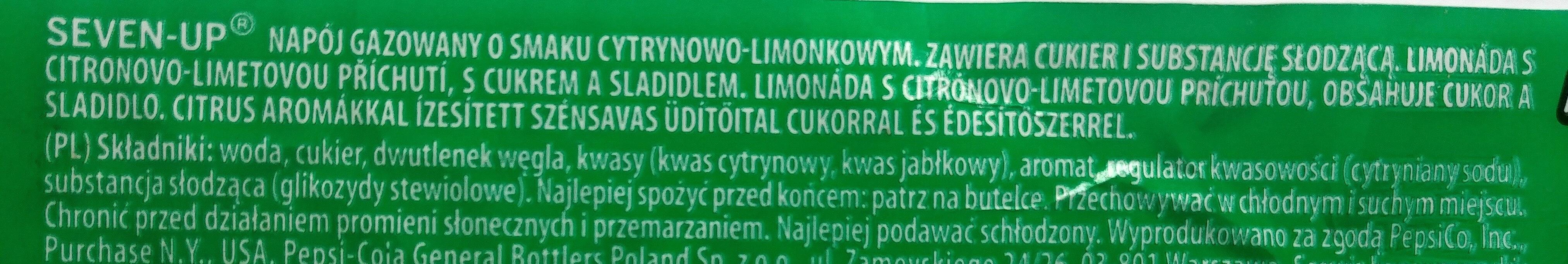 Napój gazowany o smaku cytrynowo-limonkowym - Ingredients