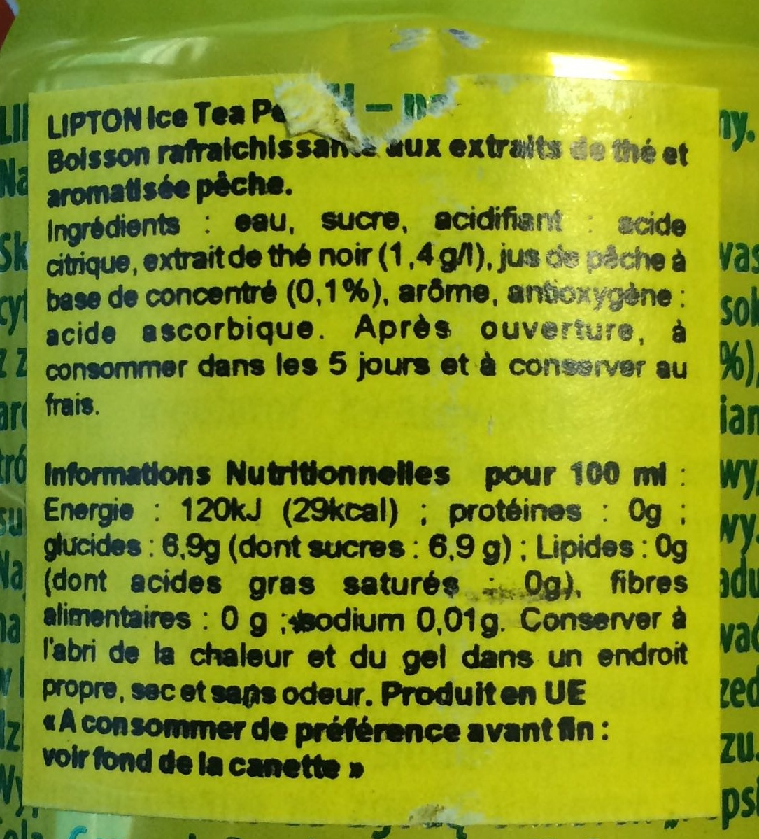 Lipton Peach Ice Tea - Ingredients