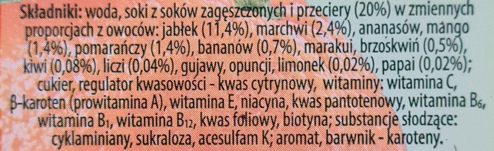 Multiwitamina, napój wieloowocowo-marchwiowy - Składniki - pl
