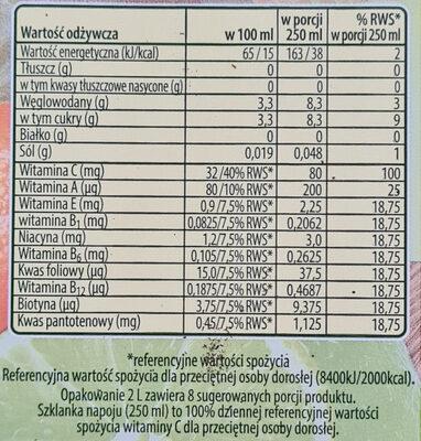 Multiwitamina, napój wieloowocowo-marchwiowy - Wartości odżywcze - pl