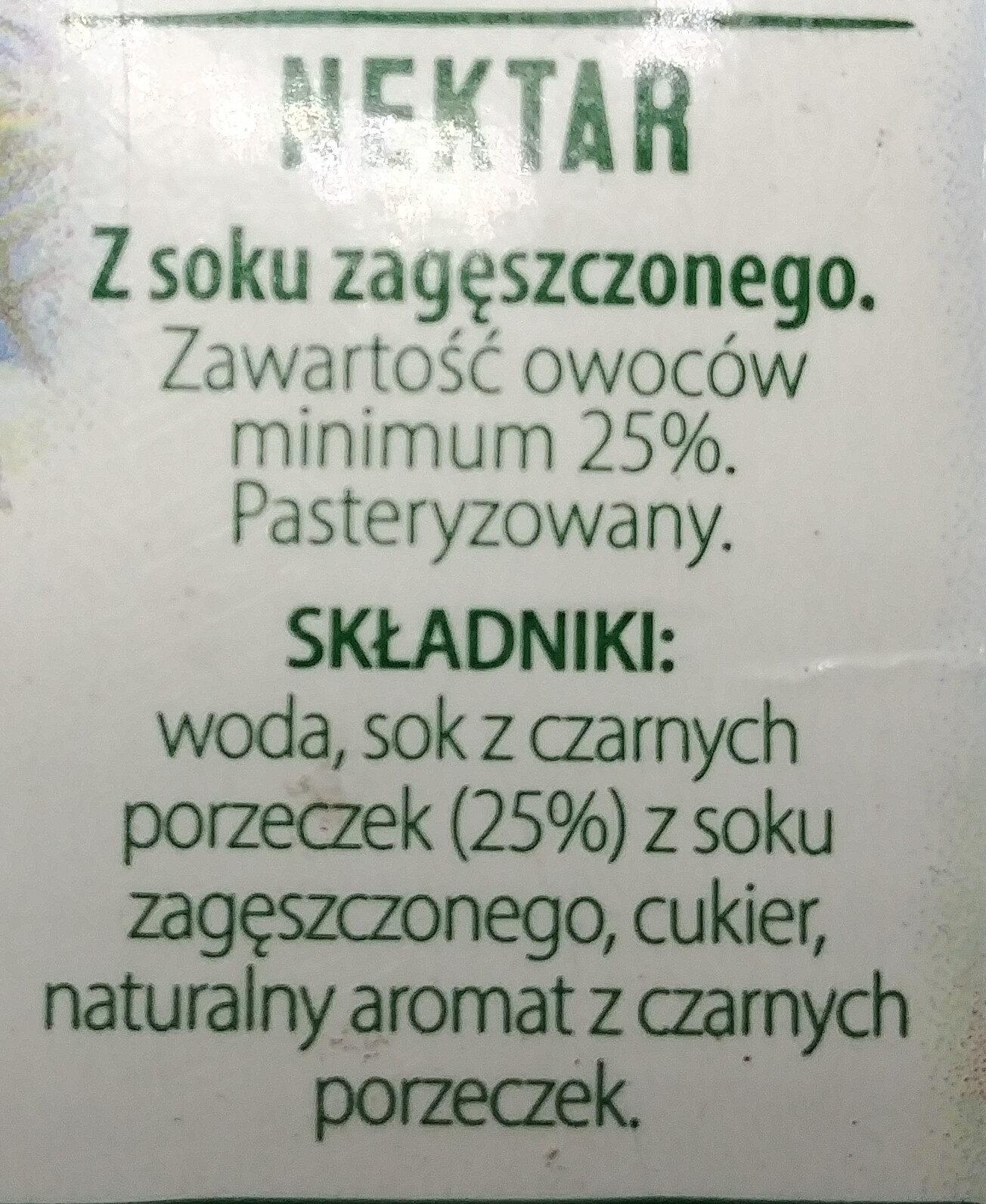 Nektar z czarnych porzeczek - Składniki - pl
