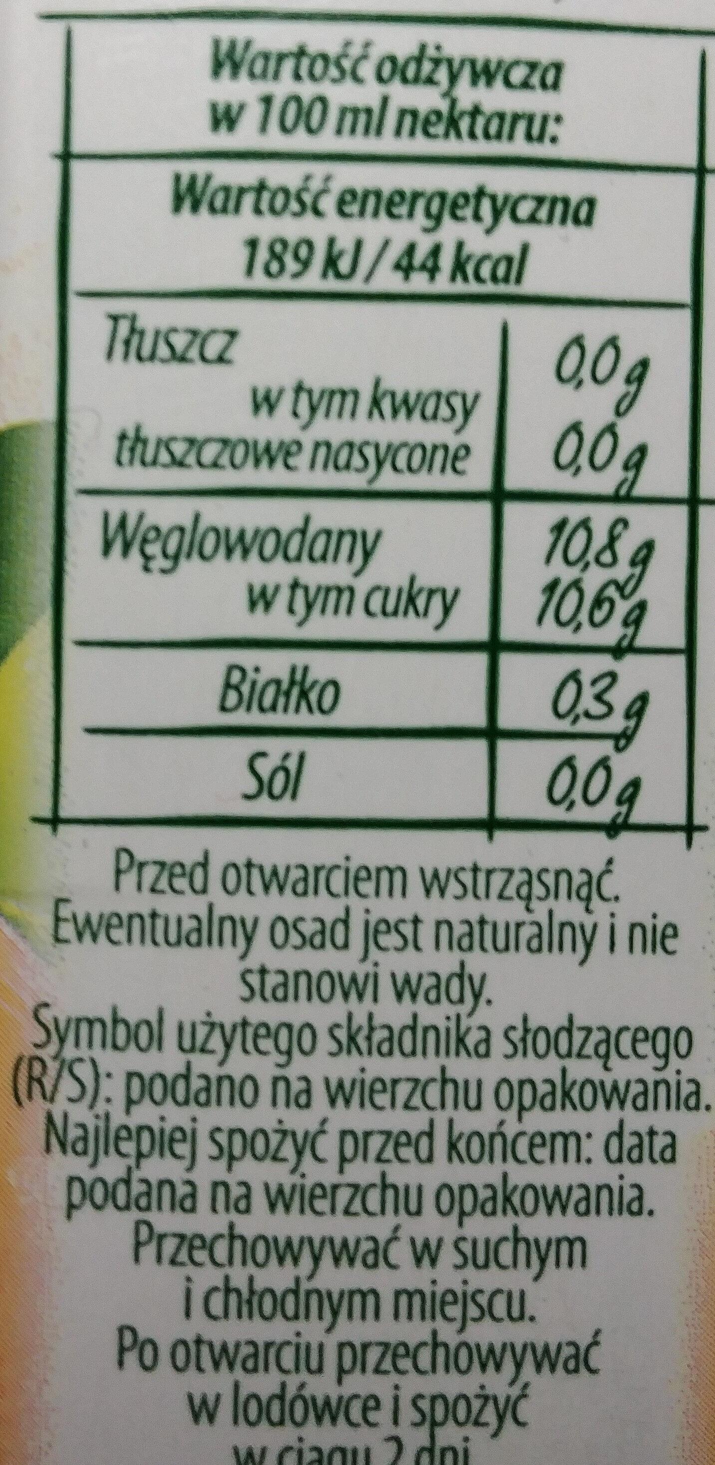 Nektar mandarynkowy - Wartości odżywcze