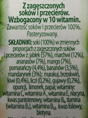 Sok owocowo-marchwiowy - Składniki - pl