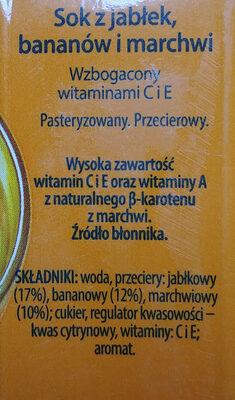 Sok z jabłek, bananów i marchwi - Składniki - pl