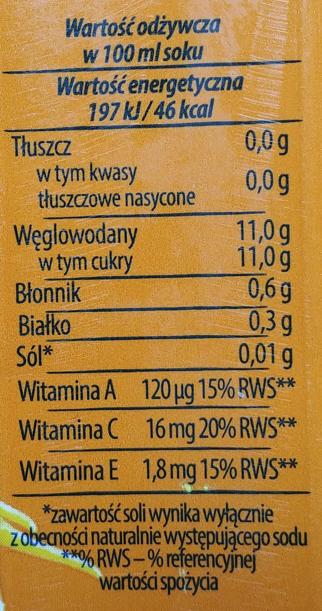 Sok z jabłek, bananów i marchwi - Wartości odżywcze - pl