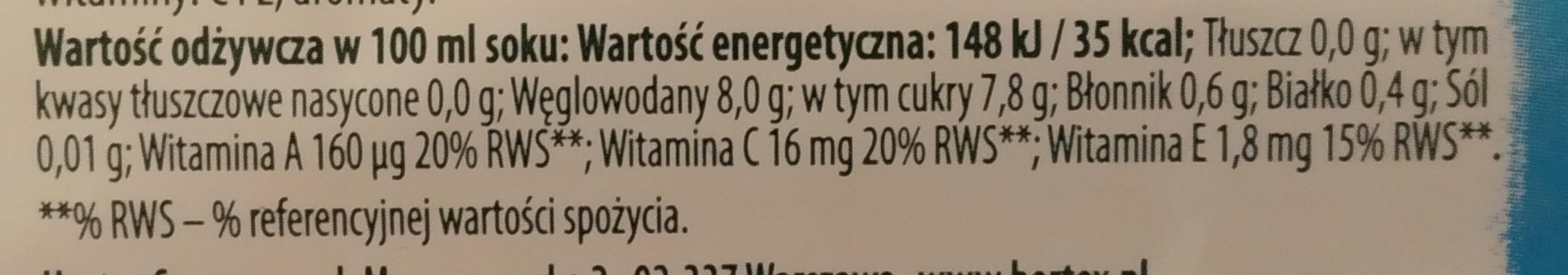 Hortex Vitaminka - Wartości odżywcze - pl