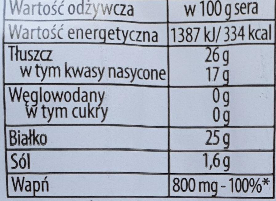 Gouda, ser mierzwiony - Voedingswaarden - pl