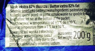 Masło extra - Wartości odżywcze
