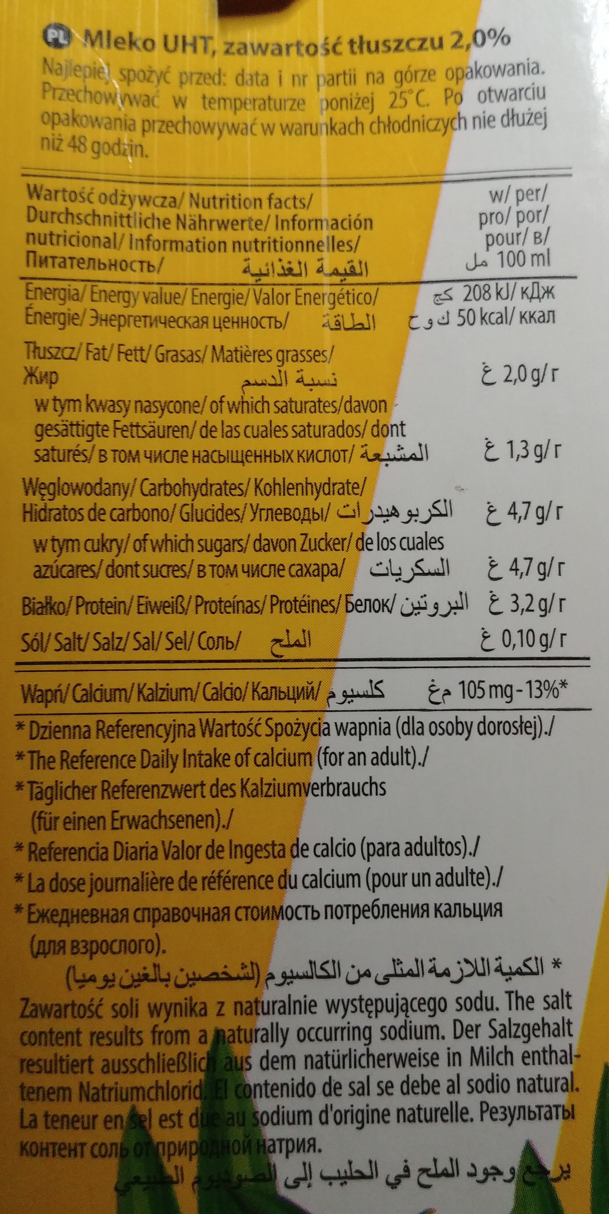 Mleko 2% - Informations nutritionnelles - pl