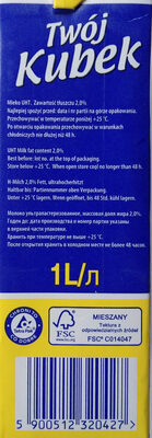 Mleko 2% - Składniki