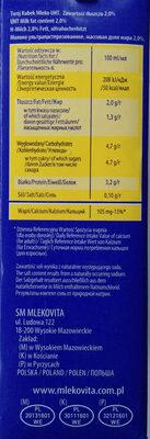 Mleko 2% - Wartości odżywcze