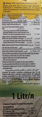 Mleko UHT 2% - Informations nutritionnelles - pl