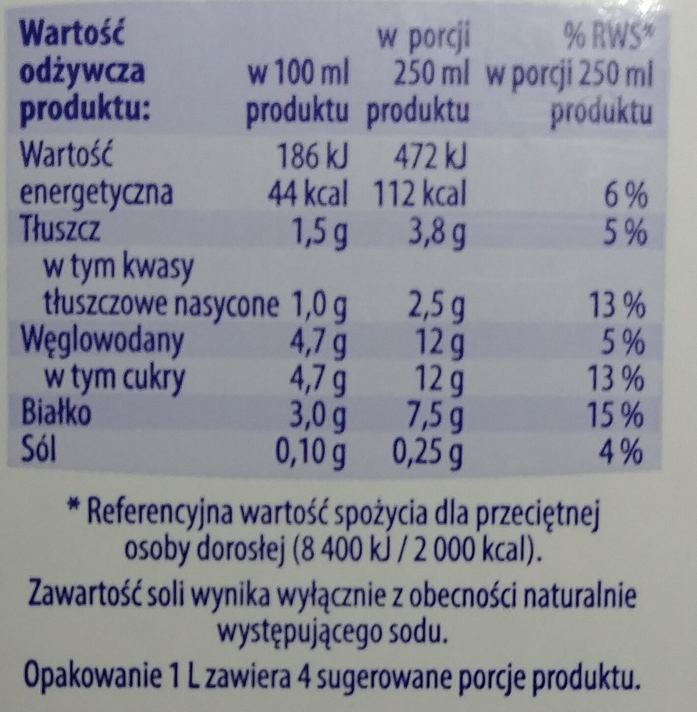 Mleko 1,5% - Informations nutritionnelles - fr