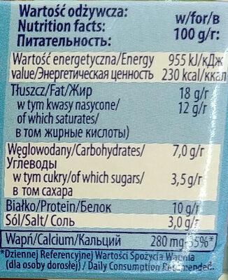 Ser miękki solankowy, tłusty, Favita - Wartości odżywcze - pl