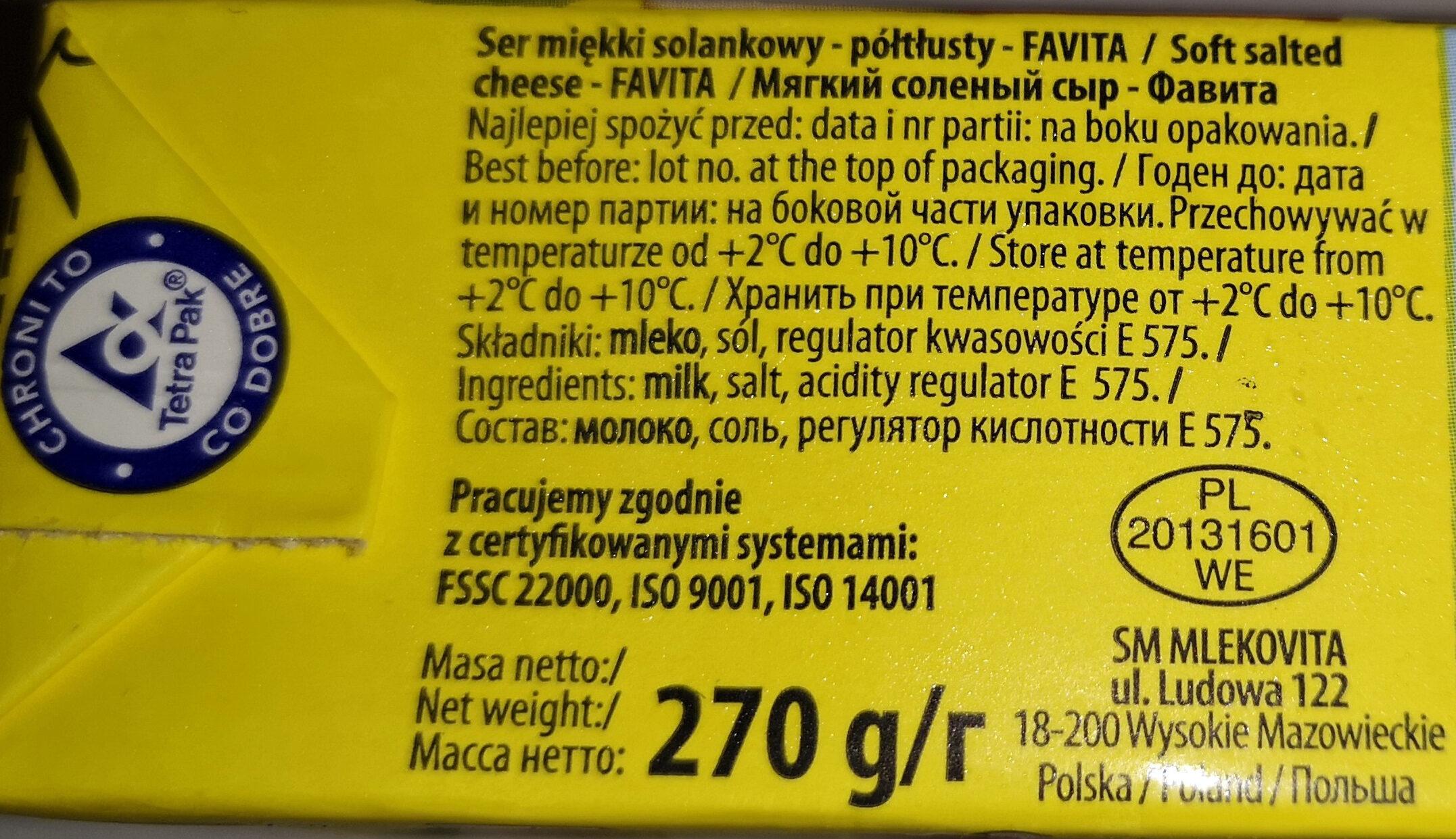 Soft salted cheese - FAVITA - Ingredients - en