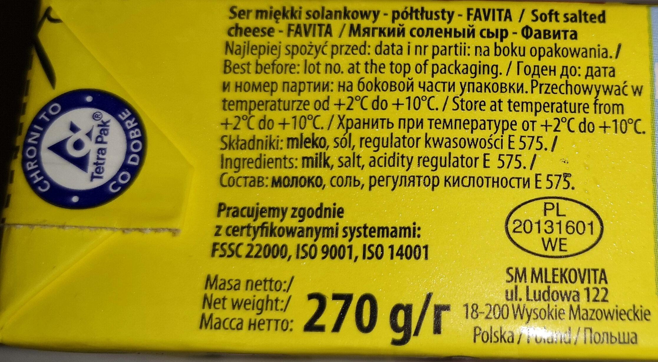 Ser miękki solankowy półtłusty Favita - Składniki