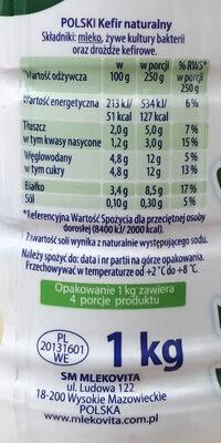Kefir - Informació nutricional - en