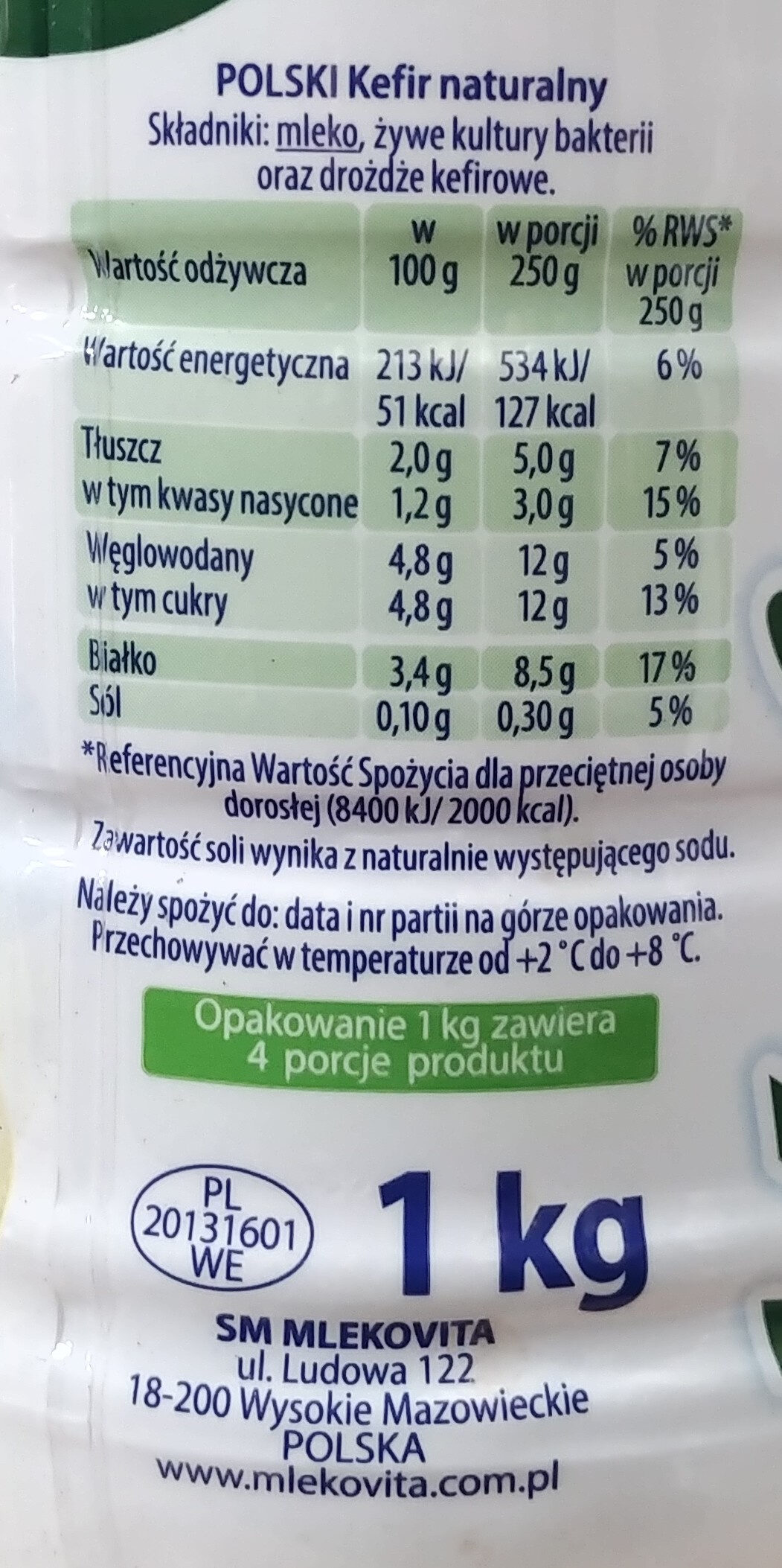 Kefir natury - Wartości odżywcze