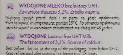Mleko wydojone 3,2% bez laktozy - Składniki - pl