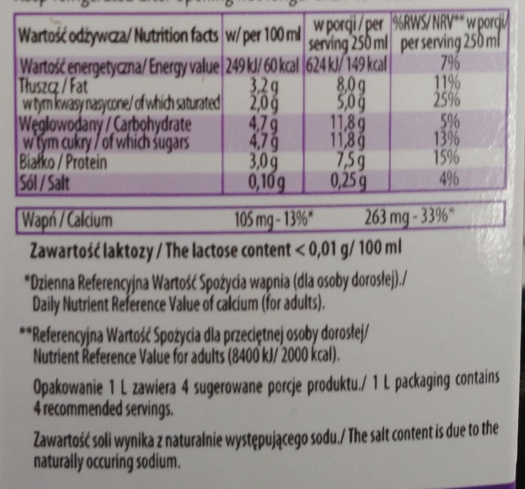 Mleko wydojone 3,2% bez laktozy - Wartości odżywcze - pl