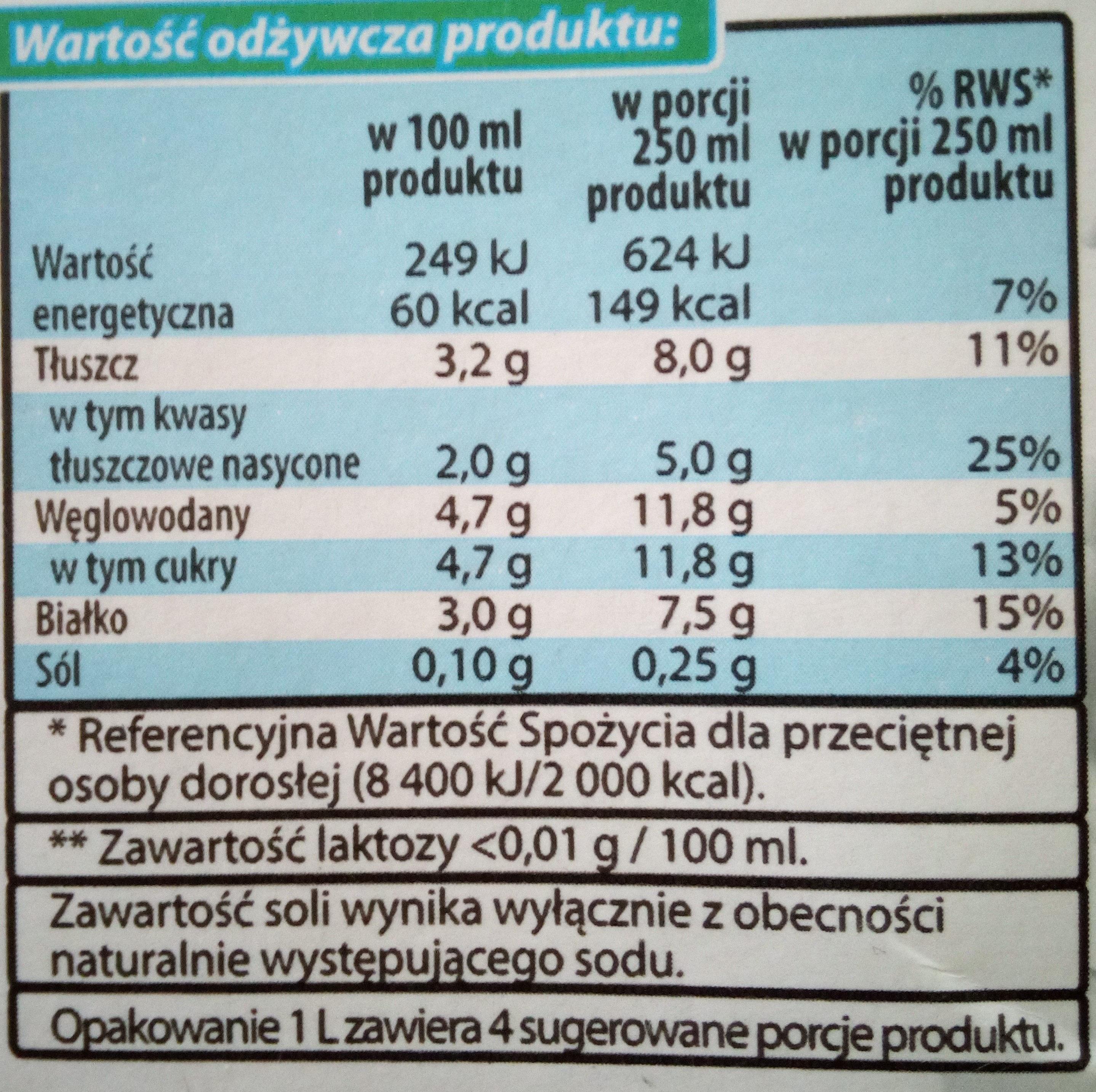 Mleko UHT bez laktozy - Nutrition facts - pl