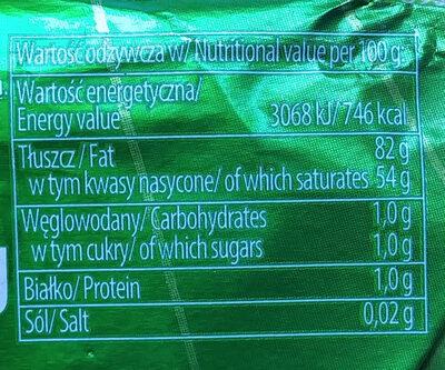 Masło ekstraekologiczne BIO - Wartości odżywcze - pl