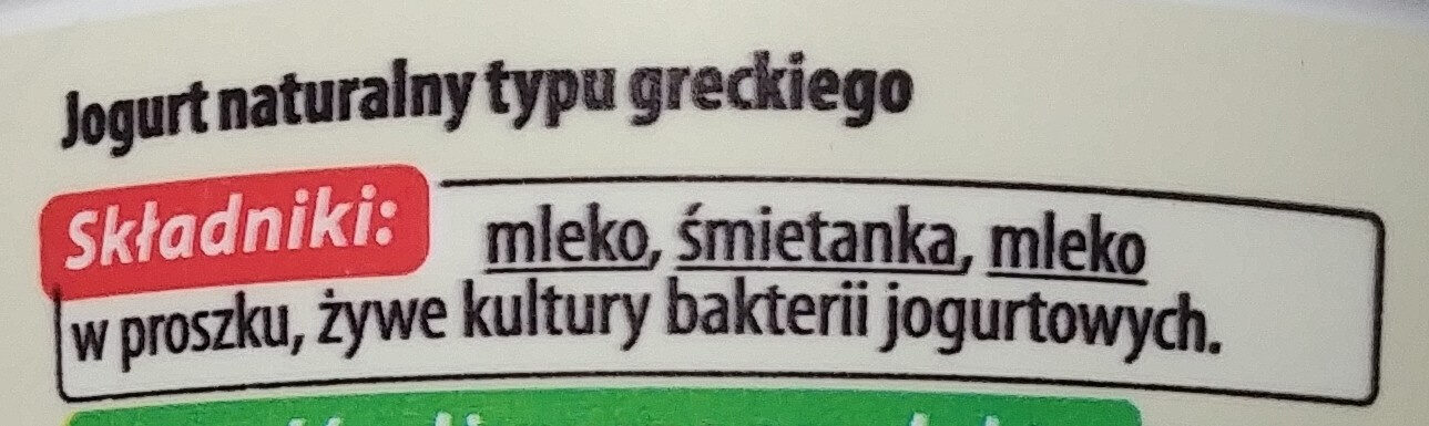 Jogurt naturalny typu greckiego - Składniki - pl