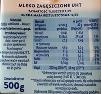 Mleko zagęszczone UHT 7,5% - Informations nutritionnelles - pl