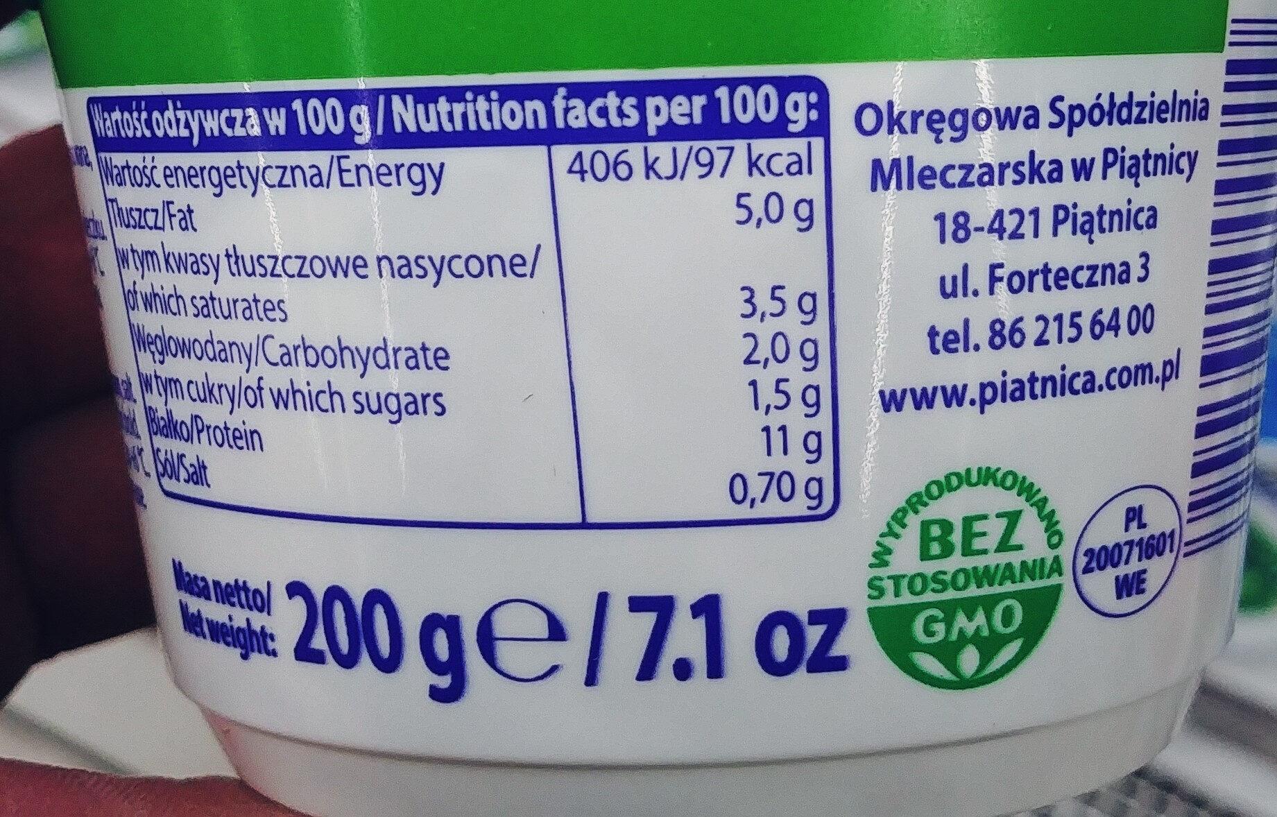 Serek wiejski naturalny - Wartości odżywcze - pl